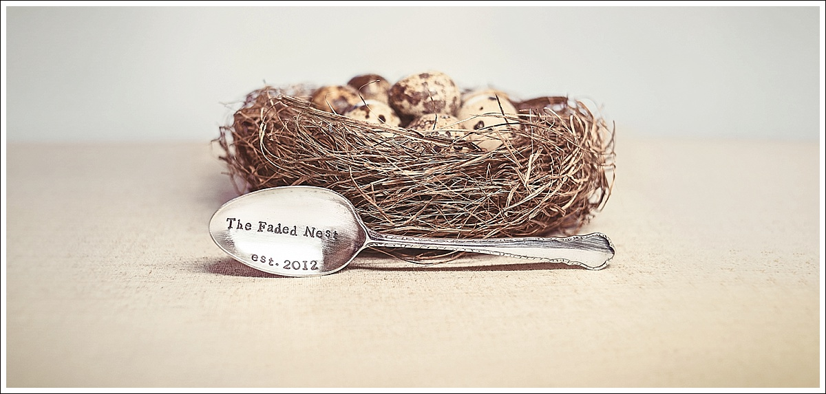 The Faded Nest, stamped spoon with a birds nest