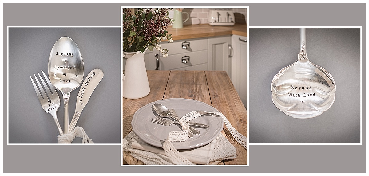 Product photography, stamped cutlery in a kitchen