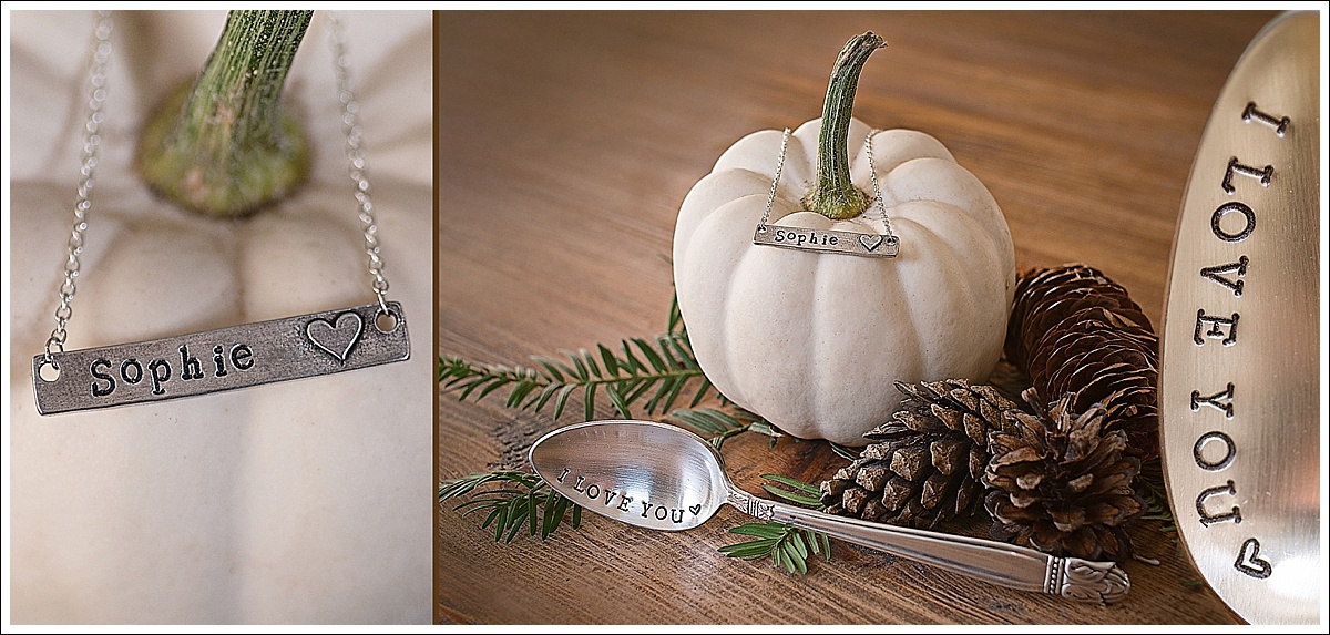 Product photography, stamped jewellery and cutlery, autumn themed