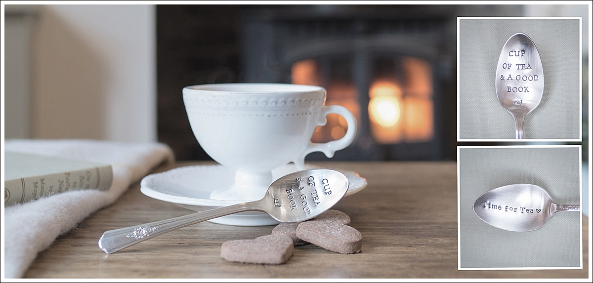 Product photography, stamped spoons in front of a log burner