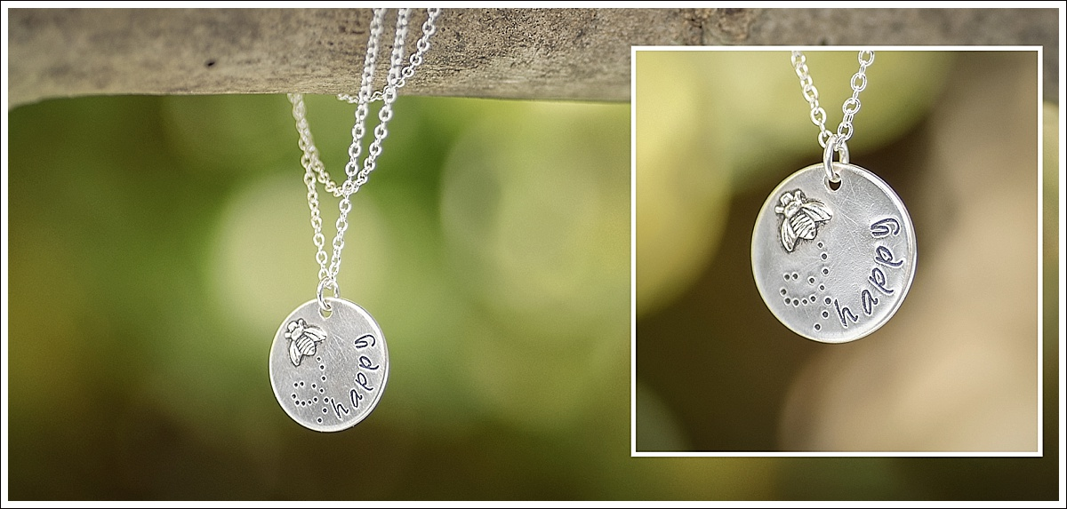 Product photography, stamped jewellery on a branch