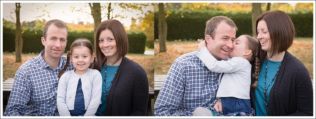 Family photograph outdoors in the autumn