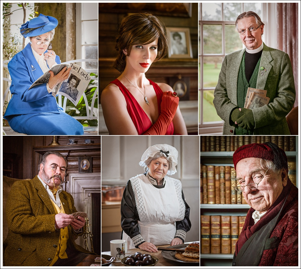 Six Cluedo characters in Mystery at the Mansion