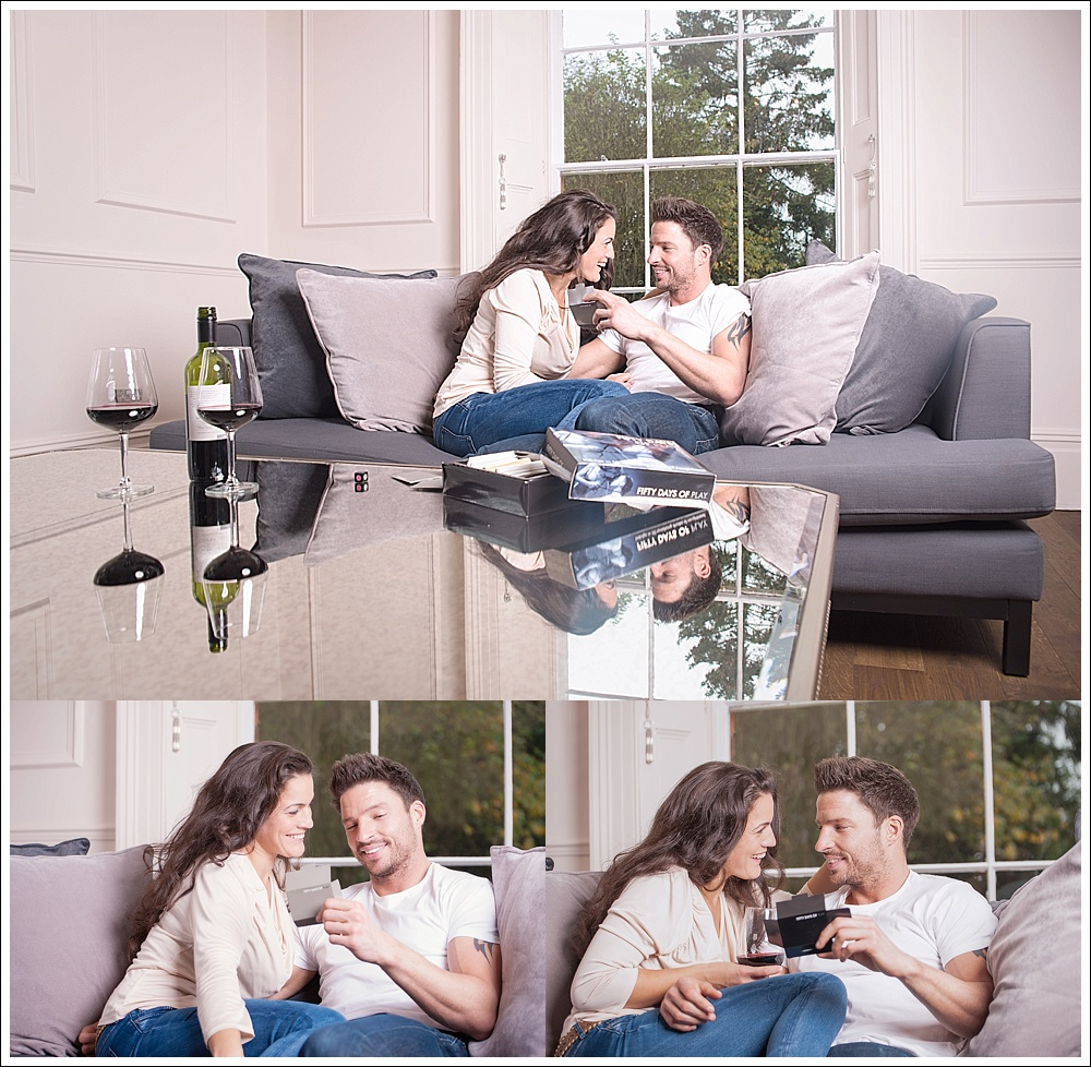 Man and woman on sofa playing 50 days of play