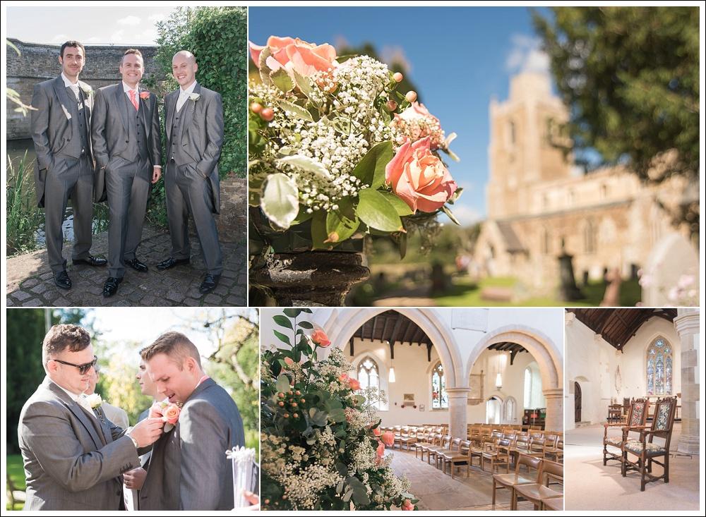 Groom with groomsmen on his wedding day. Groom's preparation. St James' Church, Hemingford Grey