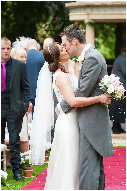 Wentbridge House Hotel, wedding kiss, bride and groom
