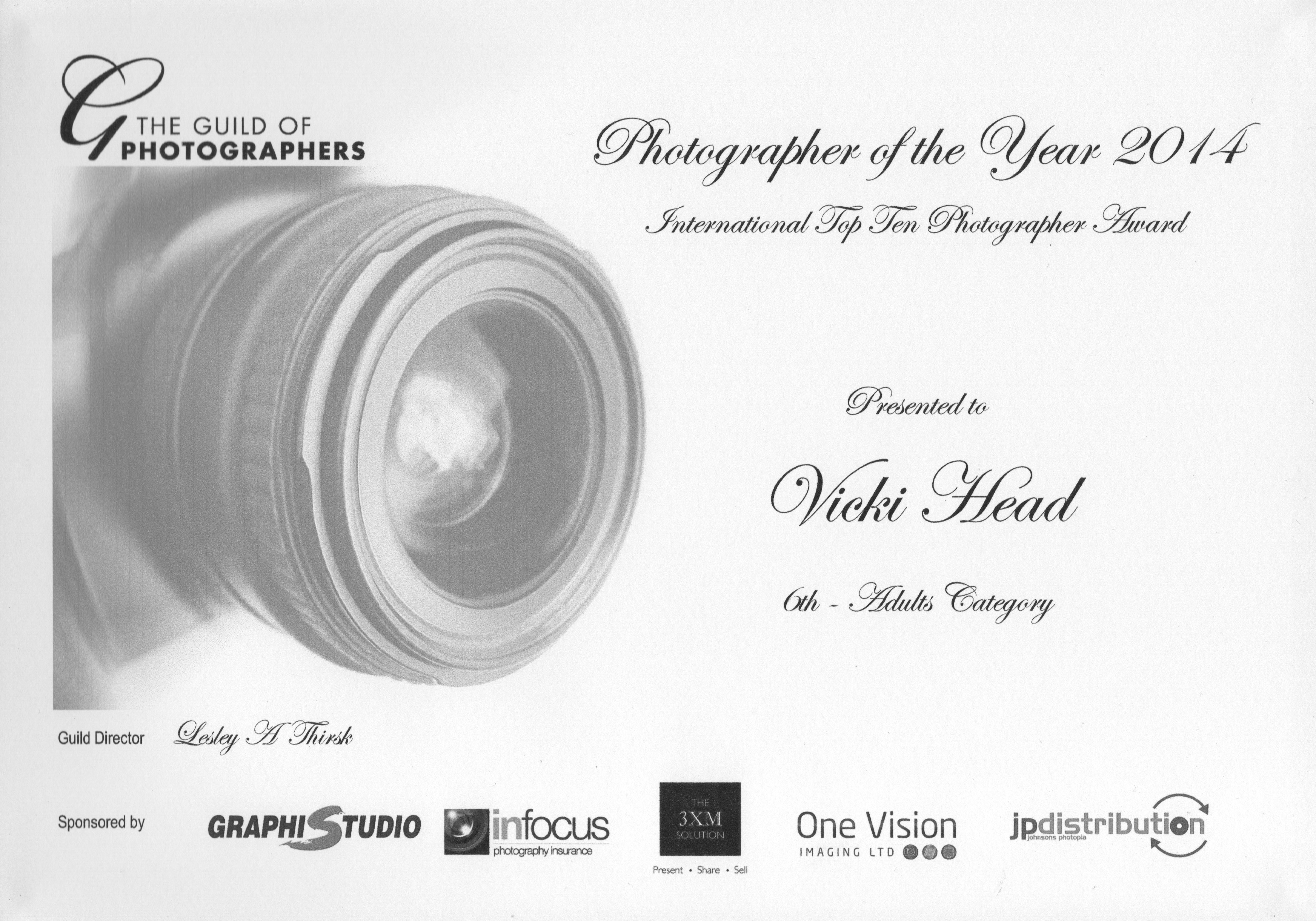 Vicki Head Guild award. Top ten photographer of the year 1