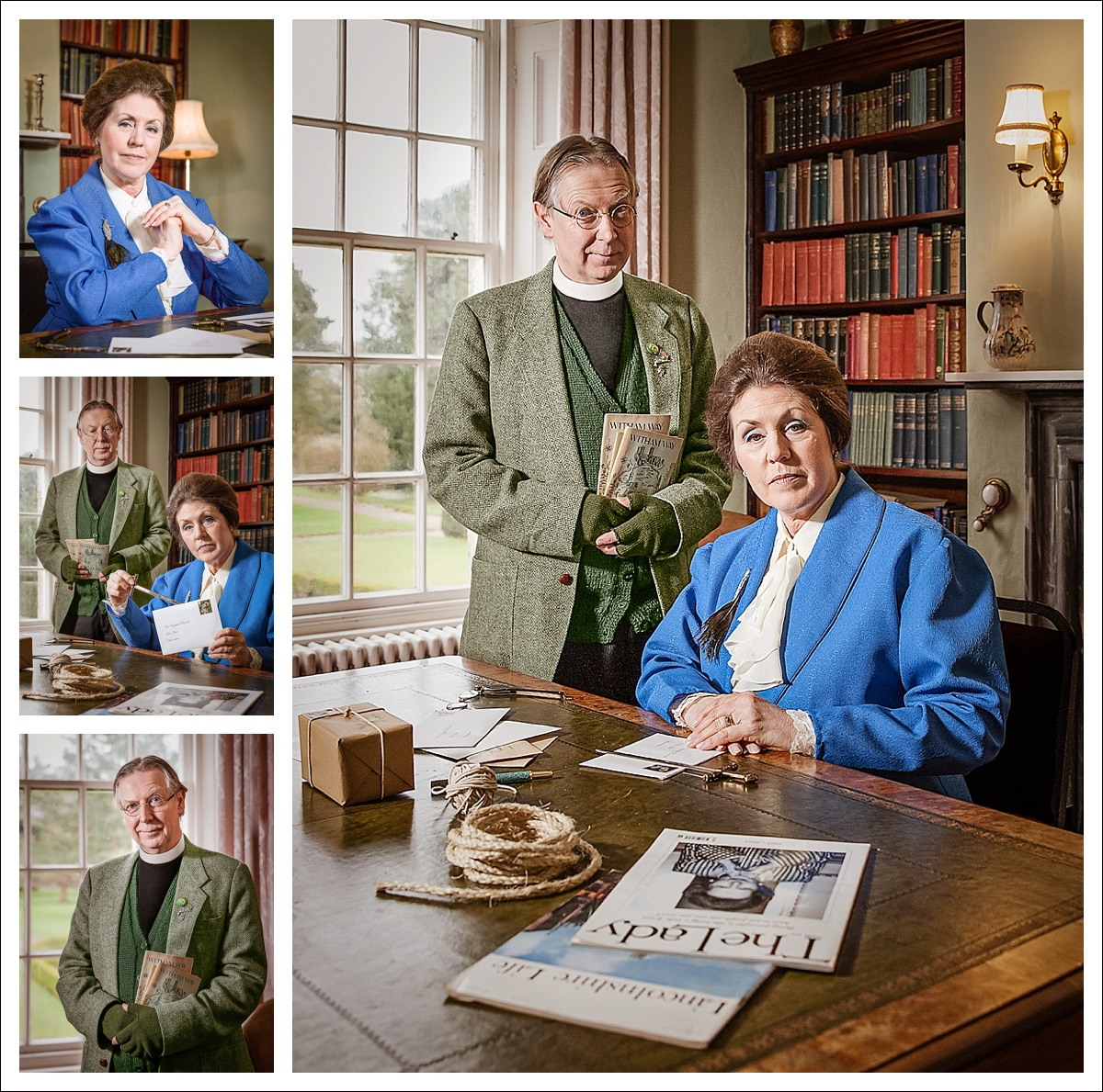 Mrs Peacock (Gail Hinkins) and Rev Green (Chris Hinkins) in the Study (Gunby Hall)