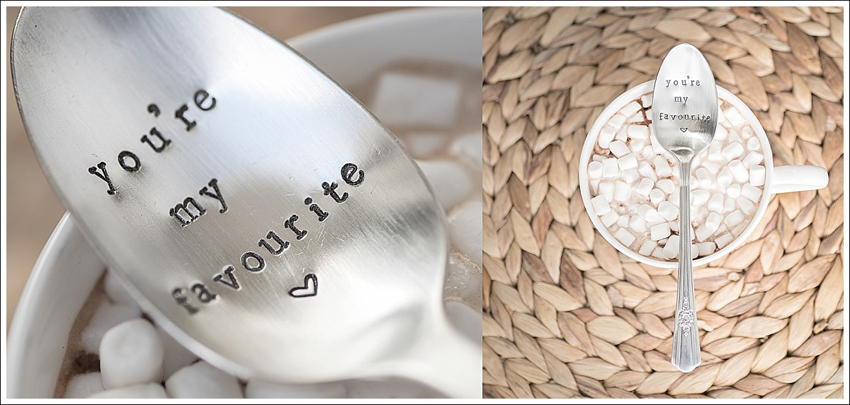 Product photography, stamped cutlery with hot chocolate