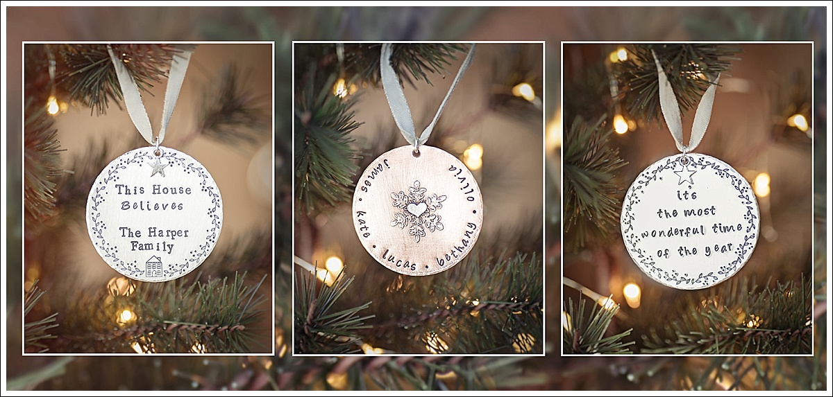 Product photography, stamped christmas decorations