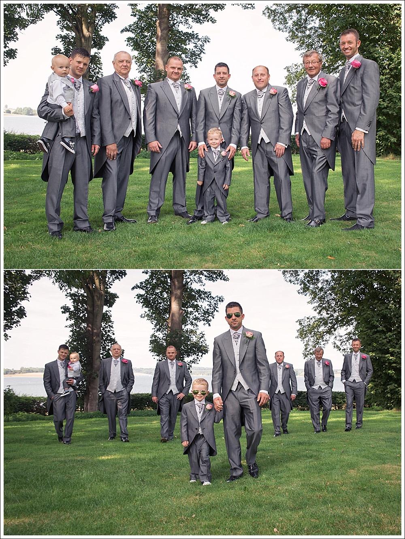 Groom with groomsmen on his wedding day. Groom's preparation