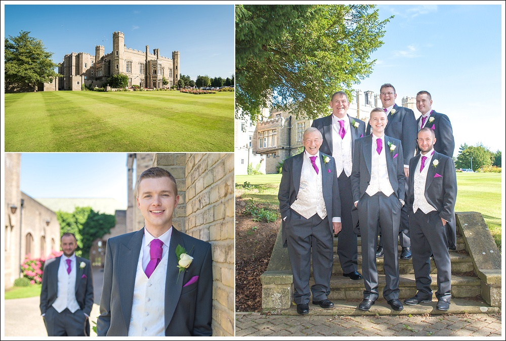 Groom with groomsmen on his wedding day. Cave Castle Hotel, Hull