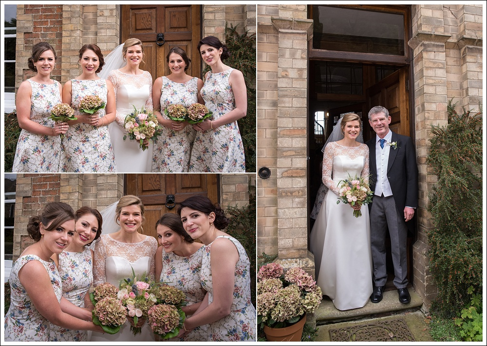 Bride with father and bridesmaids before wedding