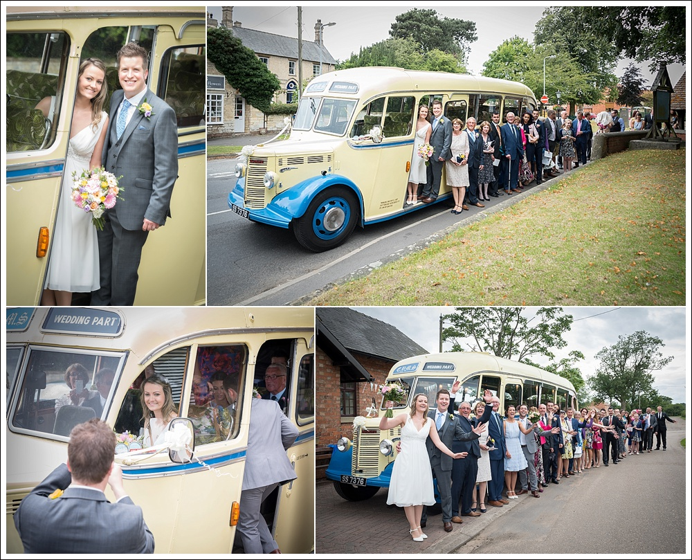 St Mary's Church Welton wedding, vintage bus